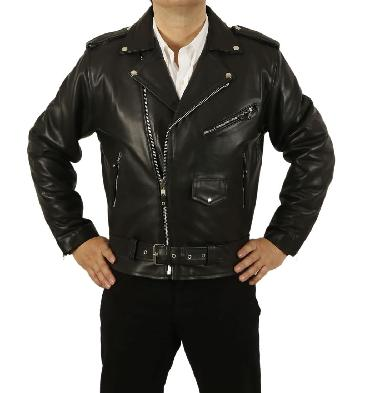 Mens Belted Black Hide Leather Brando Biker Jacket - SL1119