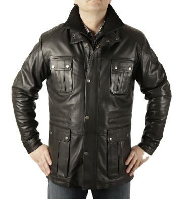 """Hugo"" Black Leather Zip Up Safari Style Jacket - SL11565"