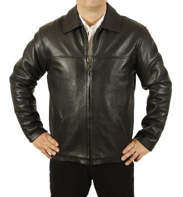 Mens Heavier Weight Plain Style Black Hide Leather Jacket - SL11151