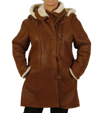 "Plus Size 20 Ladies Tan ""Nappalamb"" Sheepskin Duffle Coat - SL1144120"