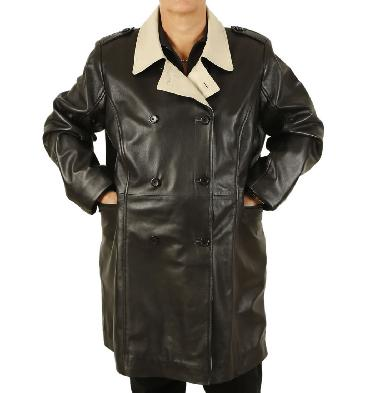 Ladies Broad Fitting Double-Breasted 3/4 Length Two Colour Leather Coat - SL1148
