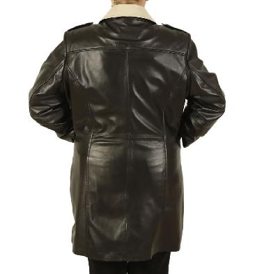 SL1148 - Ladies Broad Fitting Double-Breasted 3/4 Length Two Colour Leather Coat