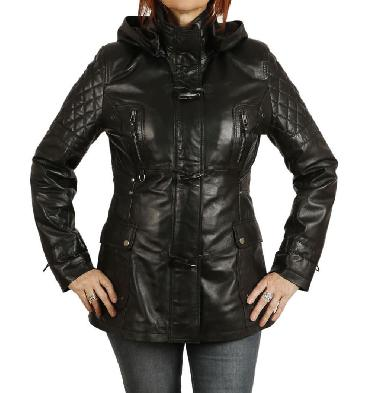 Ladies Shorter Length Black Leather Hooded Parker - SL11911