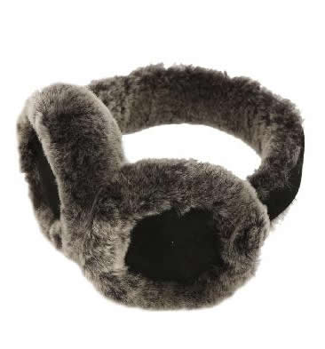 Black Tipped Sheepskin Ear Muffs - SL6111821