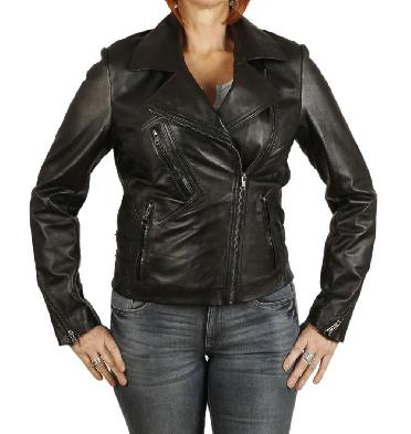 Ladies Fitted Cross-Over Black Leather Biker Jacket - SL1339