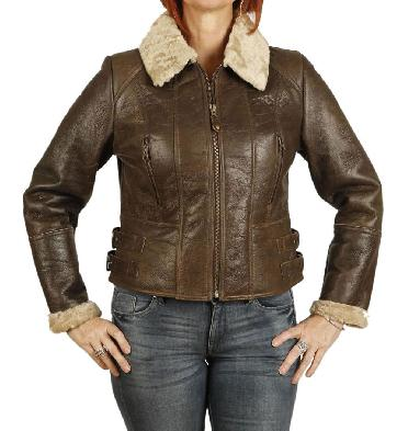 Ladies Zip Up Cropped Sheepskin Jacket In Antique Brown - SL12605