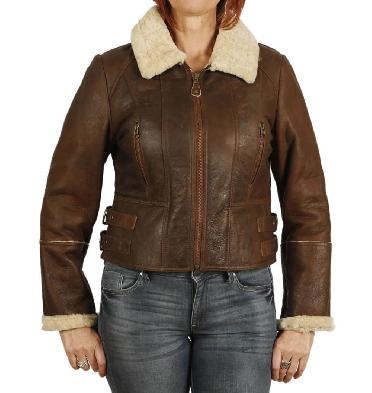Ladies Zip Up Cropped Sheepskin Jacket In Antique Rust - SL126051