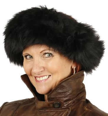 Ladies Full Shearling Black Sheepskin Headband - SL615311