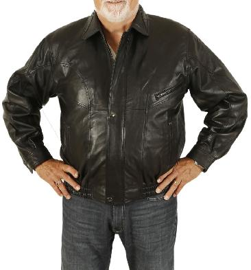 Mens Black Leather Blouson - SL101321