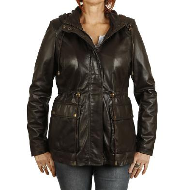 Ladies Shorter Length Brown Leather Hooded Parker - SL119111