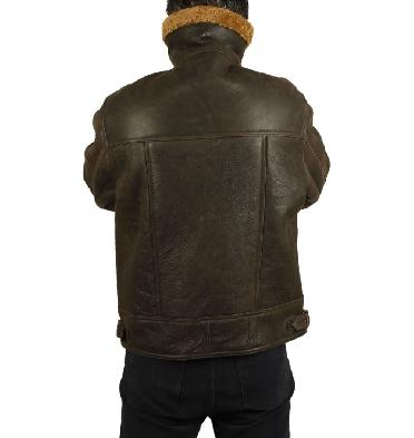 SL11601R - Brown/Caramel Straight Zip Sheepskin Flying Jacket