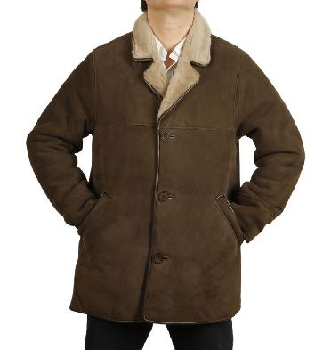 Mens Classic Sheepskin Coat In Bracken - SL117411