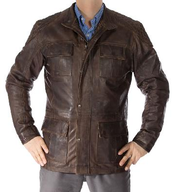 Antique Brown Leather Zip Up 3/4 Safari Style Jacket - SL1156110