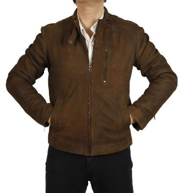 Simple Style Brown Buff Leather Biker Jacket - SL101111