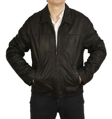 Mens Plain Style Black Buff Leather Jacket - SL111512
