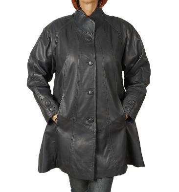 3/4 Length Navy Leather 'Swing' Coat - SL110651