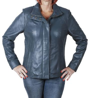 Ladies New Style Semi Fitted Navy Leather Zip Jacket - SL11021