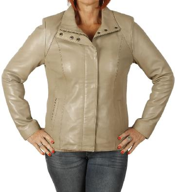 Ladies New Style Semi Fitted Taupe Leather Zip Jacket - SL11022