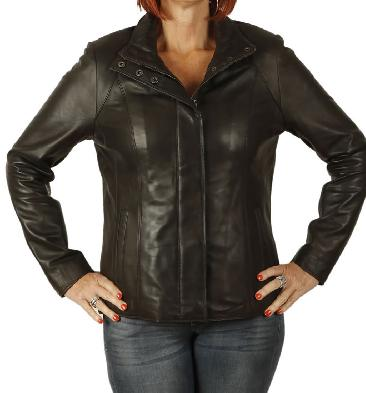 Ladies New Style Semi Fitted Brown Leather Zip Jacket - SL11023