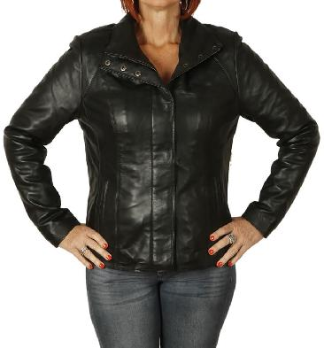Ladies New Style Semi Fitted Black Leather Zip Jacket - SL11024