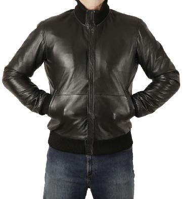 Men's Plain Style Zip-Through Collar Black Leather Bomber Jacket - SL100276