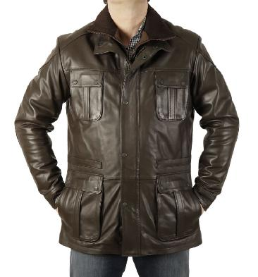 """Hugo"" Brown Leather Zip Up Safari Style Jacket - SL115651"