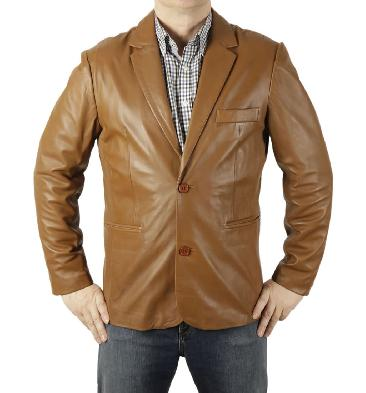 New Style Two-Button Tan Fitted Leather Blazer - SL10051