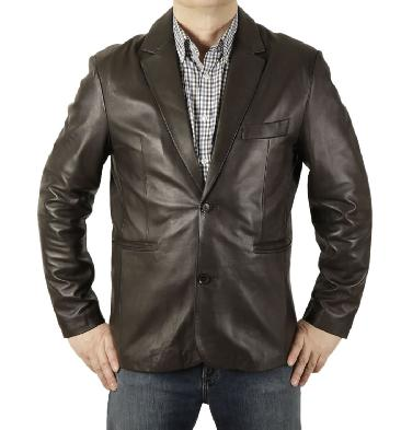 New Style Two-Button Brown Fitted Leather Blazer - SL10052
