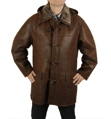 Mens Tobacco Nappalamb Sheepskin Duffle Coat - SL11701