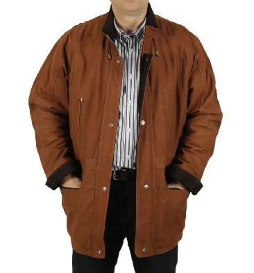 "New Style 3/4 Length Tan/Brown Nubuck Leather ""Parka"" Coat - SL1103201"