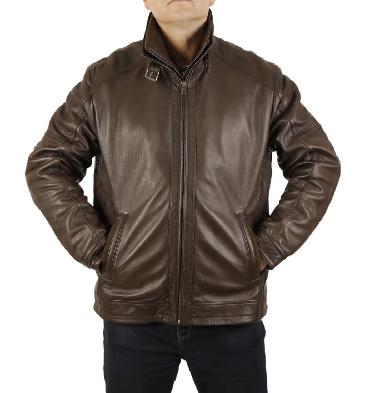 Premium Brown Nappa Leather Zip Jacket With Detachable Collar - SL10012