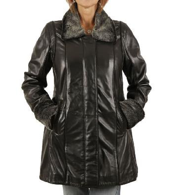Ladies A-Line Black Leather Coat With Detachable Collar And Cuffs - SL13406