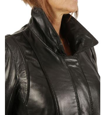 SL13406 - Ladies A-Line Black Leather Coat With Detachable Collar And Cuffs