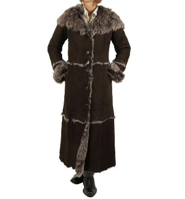 "Ladies Chocolate ""Tuscana"" Shearling Hooded Full Length Coat - SL117771"