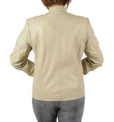 SL11852 - Ladies Semi-Fitted Hip Length Ivory Leather Mandarin Collar Jacket