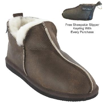 Shepherd Annie Women's Boot Style Oiled Brown Sheepskin Slipper - SL612122W