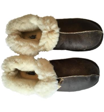 SL612122W - Shepherd Annie Women's Boot Style Oiled Brown Sheepskin Slipper