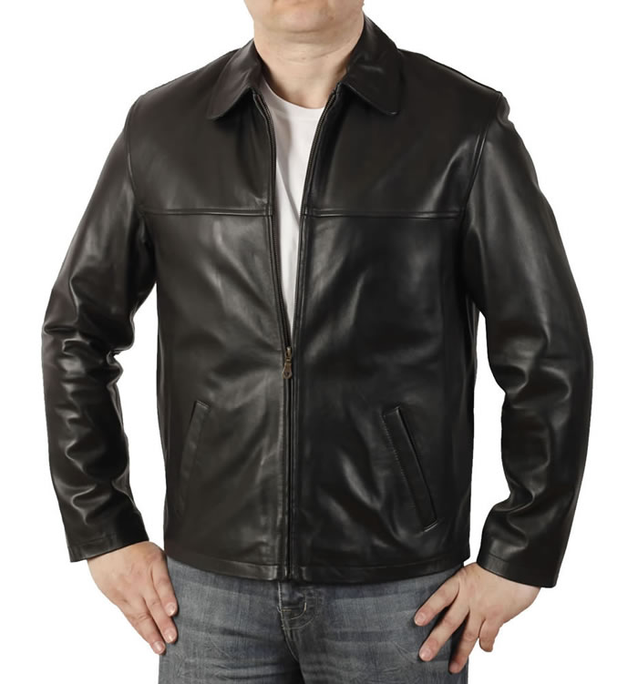 Mens Plain Style Black Leather Jacket - SL1115