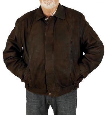 Size 7XL Mens Dark Brown Buff Leather Blouson - SL111617XL