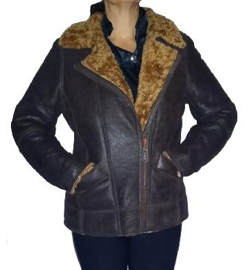 Ladies Cross-Over Sheepskin Aviator Jacket In Caramel - SL115941
