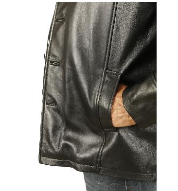 SL11309XL - Size 9XL Gents Four Button Black Leather Jacket