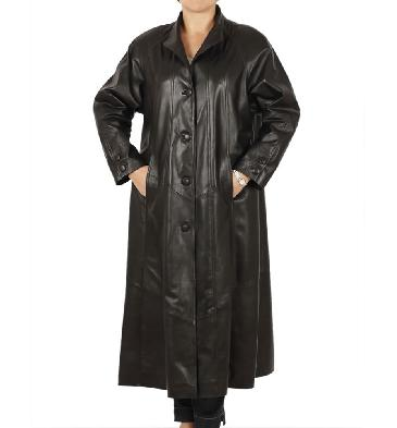 Plus Size 22/24 Full Length Black Leather 'Swing' Coat - SL1105221