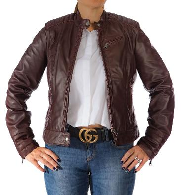 Ladies Burgundy Leather Tabbed Collar Biker Jacket With Stitch Detail - SL117445