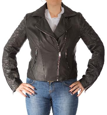 Ladies Cross-Zip Black Leather Biker Jacket - SL117446