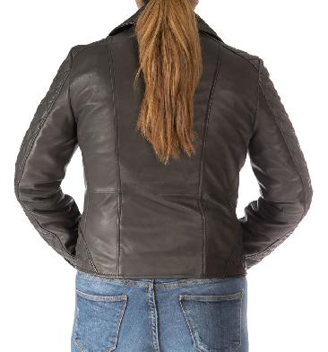 SL117446 - Ladies Cross-Zip Black Leather Biker Jacket