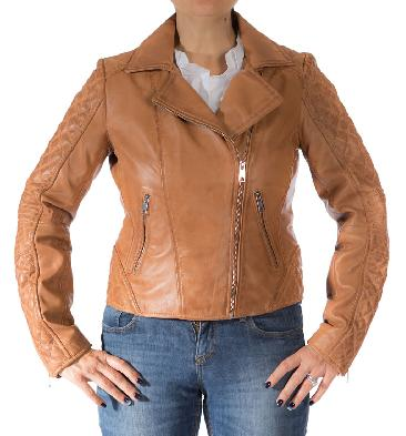Ladies Cross-Zip Tan Leather Biker Jacket - SL117447