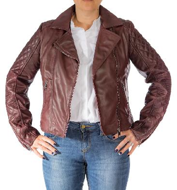Ladies Cross-Zip Burgundy Leather Biker Jacket - SL117448
