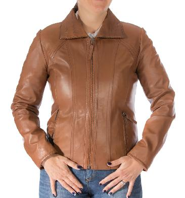 Ladies Detailed Semi Fitted Tan Leather Zip Jacket - SL11020