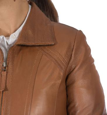 SL11020 - Ladies Detailed Semi Fitted Tan Leather Zip Jacket