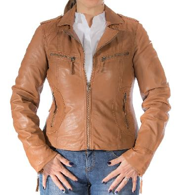 Ladies Tan Leather Biker Jacket With Revere Collar - SL11016